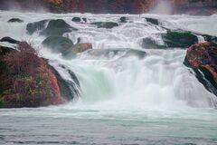 Free Magical Water Flows In Rhine Falls Stock Photo - 178416980