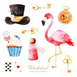 Magical watercolor set with cupcake and bottle with label with text,golden keys,playing cards,clock royalty free illustration