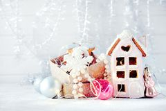 Magical winter christmas picture. Gingerbread house with snow. royalty free stock images