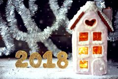 Magical winter christmas picture. Gingerbread house with snow. Stock Photography