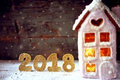 Magical winter christmas picture. Gingerbread house with snow. Royalty Free Stock Image