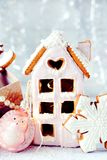 Magical winter christmas picture. Gingerbread house with snow. royalty free stock photos