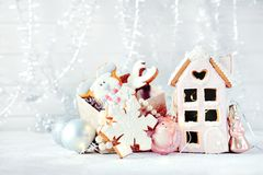 Magical winter christmas picture. Gingerbread house with snow. Royalty Free Stock Photography