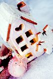 Magical winter christmas picture. Gingerbread house with snow. stock image