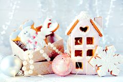 Magical winter christmas picture. Gingerbread house with snow. Stock Photo