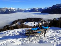 Magical winter landscape with fog inversion weatheres in the Alps - Vorarlberg Austria Europe stock photo