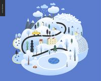 Magical winter landscape. Snowed up island with hills, roads, cars, houses and snow-covered trees, with mountains and snow clouds above stock illustration