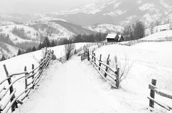 The way to the magic earth. Magical winter in the mountains of Romania. A land of fairy tales Royalty Free Stock Photo