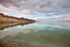 Magical winter sunset at the Dead Sea Stock Photos