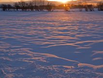 Magical winter sunset in the snow Stock Photo