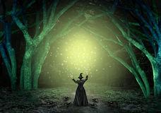 Magical Witch Background. Magical witch casting a magic spell in a scary dark mystery forest as a wicked sorcerer creating a glittering green glow as a halloween Royalty Free Stock Photo
