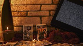 Magical witchcraft fortune teller mystical tarot cards. Video stock video footage