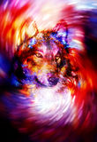 Magical wolf in space light swirl, computer graphic collage. Royalty Free Stock Photos