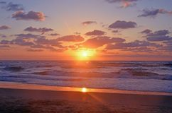 A magical wonderful sunset on the shores of the Mediterranean in Israel, Tel Aviv. royalty free stock photography