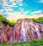 Magical Wonderful View with Waterfall Waves in the National Park. In Plitvice, Croatia Stock Photos