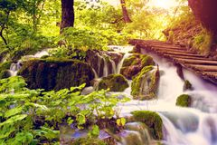 Magical Wonderful View with Waterfall Waves in the National Park. In Plitvice, Croatia Stock Images