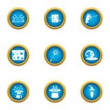 Magical world icons set, flat style stock illustration