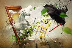 Magical world of painting royalty free illustration