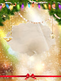 Magically decorated Fir Tree. Magically decorated Fir Tree with balls, ribbons and garlands on a blurred Christmas shiny, fairy and sparkling background Royalty Free Stock Image