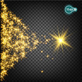 Magically flying a Christmas star is a realistic light effect. Isolated stream of stars light. Transparent template of the impetuous car for the design of Xmas Stock Photography