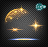 Magically flying a Christmas star is a realistic light effect. Isolated stream of stars light. Transparent template of the impetuous car for the design of Xmas Royalty Free Stock Image
