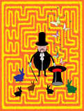 Magician. Abstract colored background with a magician in front of a labyrinth, colored rabbits, butterflies and stars Royalty Free Stock Photo