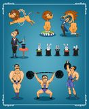 Magician animal trainer and strongman Stock Images