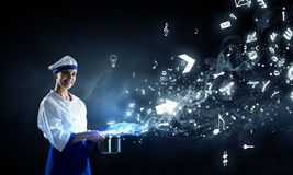 She is magician as cook Royalty Free Stock Photography