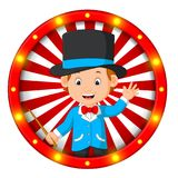 Magician banner with bright bulbs. Illustration of magician banner with bright bulbs Royalty Free Stock Image