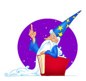 Magician big red book Royalty Free Stock Images