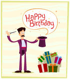 Magician birthday greeting Stock Photos