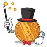 Magician bitcoin coin character cartoon. Vector illustration Stock Images