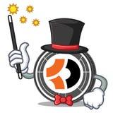 Magician Bitcoin Dark mascot cartoon. Vector illustration Stock Photos