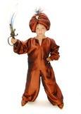Magician. Boy in carnival costume Aladdin Royalty Free Stock Photo