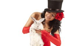 Magician with  bunny Stock Photography