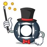 Magician Byteball Bytes coin mascot cartoon. Vector illustration Royalty Free Stock Photography