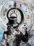 Magician card shuffling graffiti Stock Photography