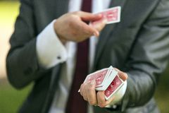 Magician card trick Royalty Free Stock Photos