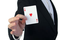 Magician and cards Stock Photography