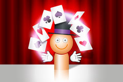 Magician with cards Royalty Free Stock Images