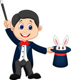 Magician cartoon pulling out a rabbit from his top hat. Illustration of Magician cartoon pulling out a rabbit from his top hat Royalty Free Stock Image