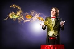 Magician casts a spell Stock Photography