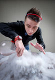 Magician in chemical laboratory Stock Photography