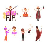 Magician in the circus show magic tricks magic tricks vector. Illustration stock illustration