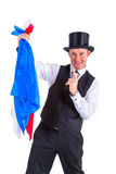 Magician with cloth Stock Photo