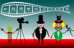 Magician and clown filming royalty free stock images