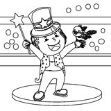 Magician coloring page. Hand drawn illustration of a magician with a bird and wand page for kids Stock Photos