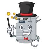 Magician copier machine next to character chair. Vector illustration stock illustration