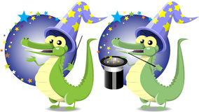 Magician crocodile Royalty Free Stock Photos