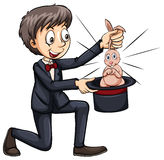 Magician and a cute bunny Royalty Free Stock Photography